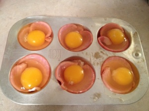 baked eggs & canadian bacon