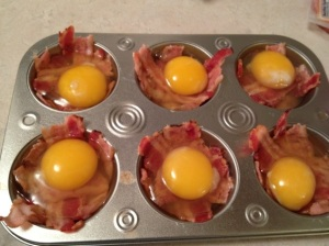 baked eggs & bacon