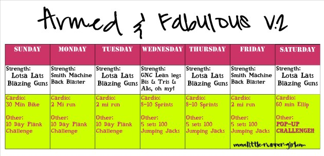 Armed & Fabulous training schedule week 2