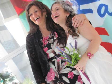laughing with mom